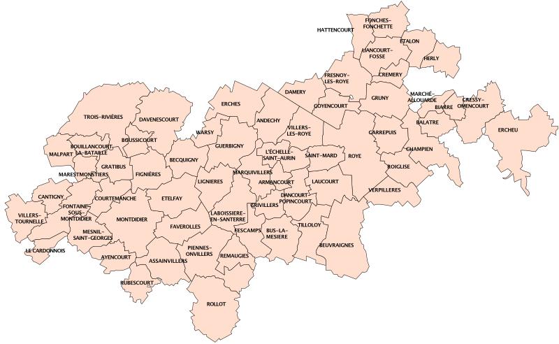 Les communes de la communauté de communes du Grand Roye